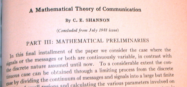 a mathematical theory of communication Would include the procedures by means of which one mechanism (say automatic equipment to track an airplane and to compute its probable future positions) dr weaver is research director of the rockefeller foundation the present paper is his contribution in the mathematical theory of communication by claude.