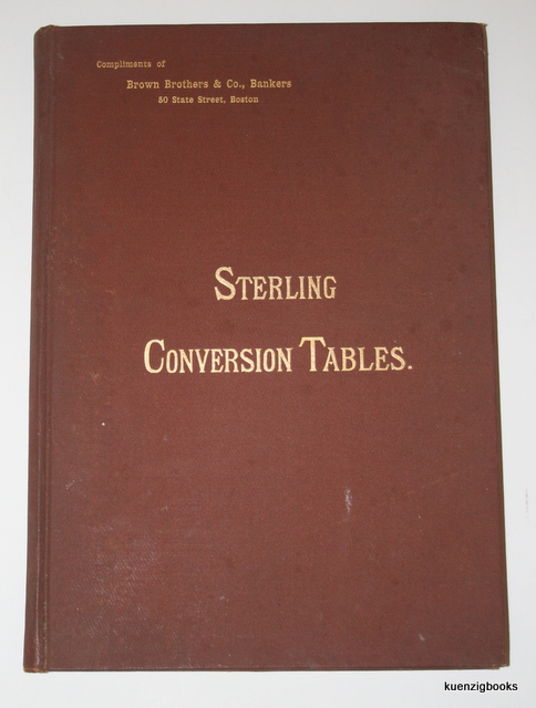 Sterling Conversion Tables. Pounds in to Dollars : Dollars Into Pounds. : Under Act of 3d March 1873 : From $4.75 By Half Cent to $5.00 Per £1 Say By Eighths Per Cent. John Howard Latham.