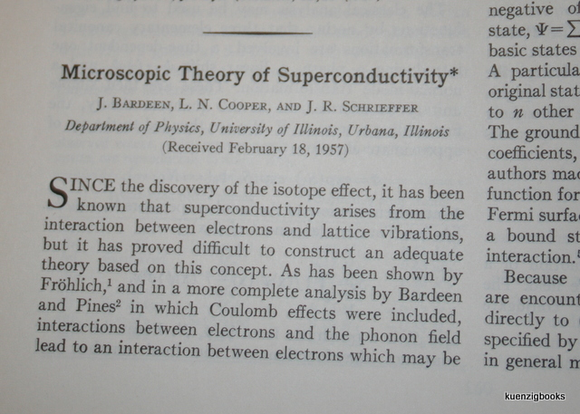 Microscopic Theory of Superconductivity. J. Bardeen, L. N. Cooper, J. R. Schrieffer.