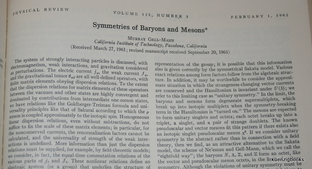 Symmetries of Baryons and Mesons. Murray Gell-Mann.