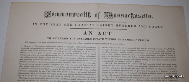 Commonwealth of Massachusetts. In the year one thousand eight hundred and forty. An Act to ascertain the rateable estate within this Commonwealth. MASSACHUSETTS - TAXES, Broadside.