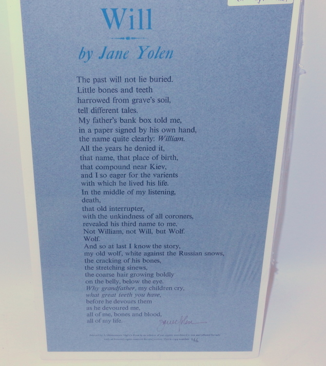 Will [ A POETRY BROADSIDE ]. Jane Yolen.