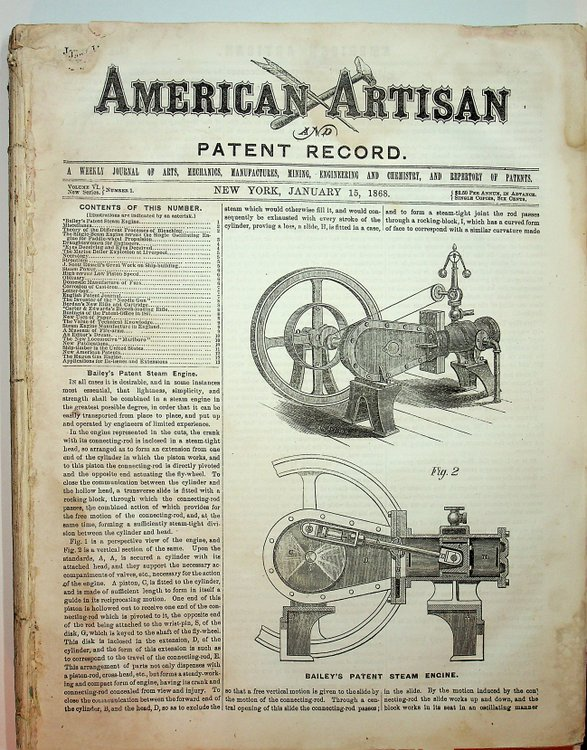 American Artisan Jan 15, 1868 to July 8, 1868 WITH Patent Record ...A Supplement to American Artisan...Jan-June 1868. D. Murray F. R. G. S. Smith.