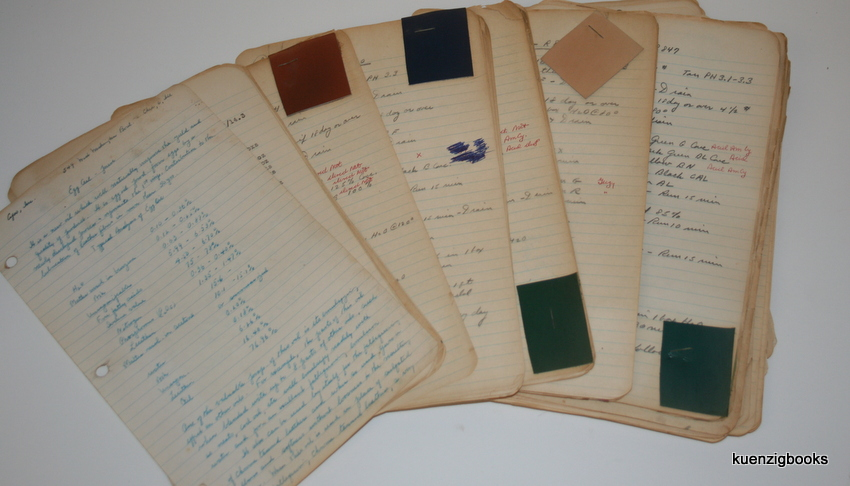 Manuscript Archive with formulae/processes for Leather Dressing, Dyeing, Tanning from the 1940s and 1950s. Leather Chemist or Tannery.