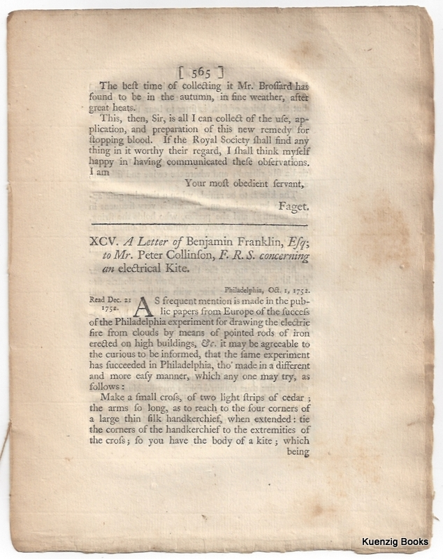 A Letter from Mr. Franklin to Mr. Peter Collinson, F. R. S. concerning the Effects of Lightning. Benjamin Franklin, Peter Collinson.