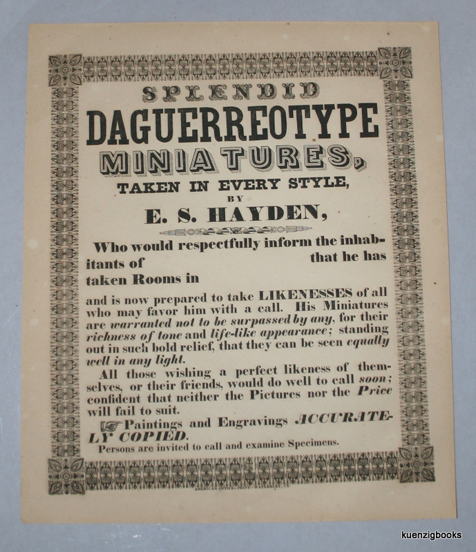 SPLENDID DAGUERREOTYPE MINIATURES, TAKEN IN EVERY STYLE, BY E.S. HAYDEN [caption title and text]. E. S. Hayden.