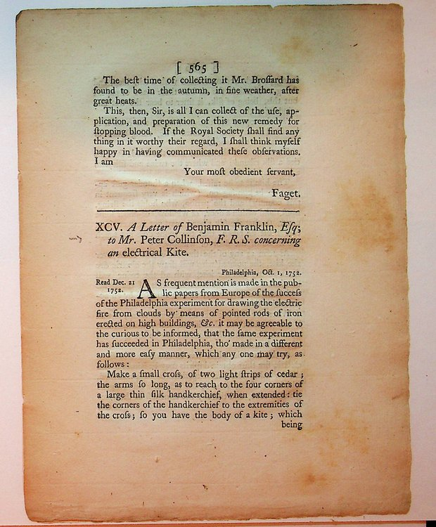 A Letter of Benjamin Franklin, Esq; to Mr. Peter Collinson, F. R. S. concerning an electrical Kite. Benjamin Franklin, Peter Collinson.