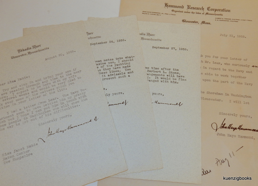 Small archive of material related to John Hays Hammond Jr. including signed letters and a detailed biographical article by Janet Mabie. John Hays Hammond, Jr., Janet Mabie.