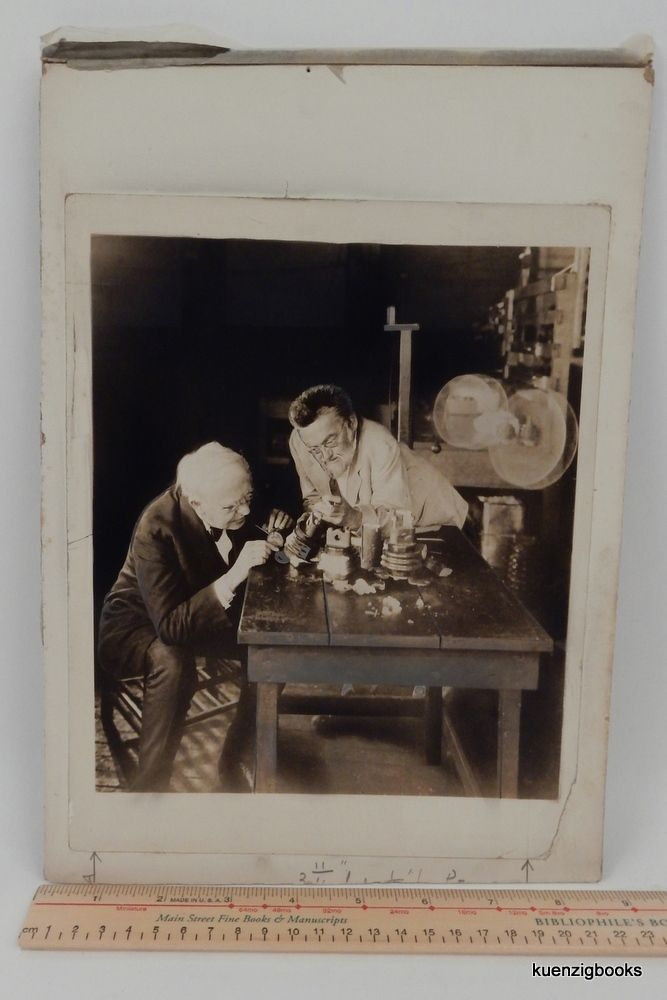 [ Photograph ] A Wonderful Image of Thomas Edison and Charles Steinmetz Examining Insulators. Thomas A. Edison, Charles Proteus Steinmetz.