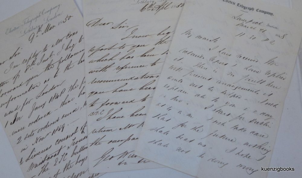 [ Early Telegraph ] A group of three handwritten letters to George Wilson, Esq. , Chairman of the Board of Directors of the Electric Telegraph Company. George Wilson, Esq., John Pope Cox.