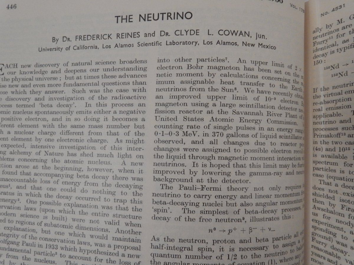The Neutrino. Dr. Frederick Reines, Dr. Clyde L. jun Cowan.