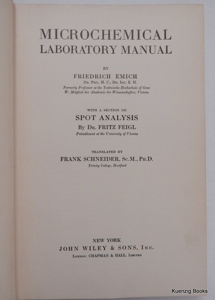 Microchemical Laboratory Manual With A Section On Spot