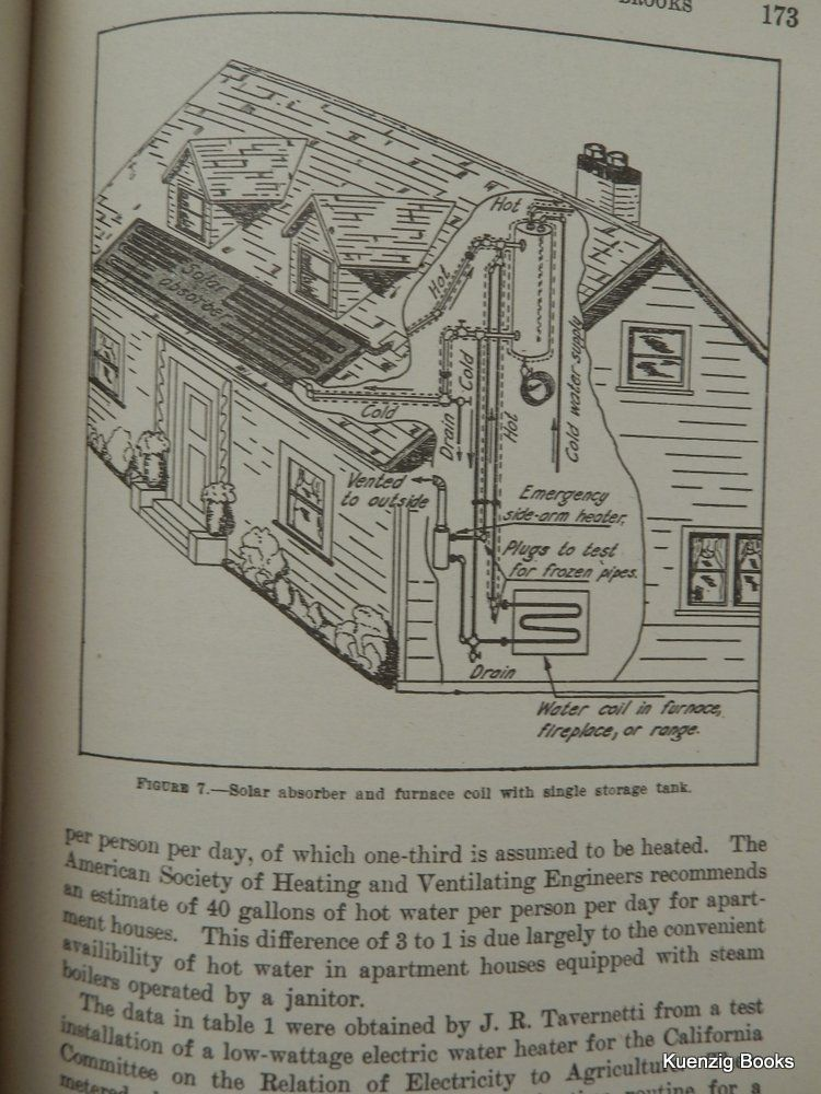 Use of Solar Energy for Heating Water by F  A  Brooks on Kuenzig Books