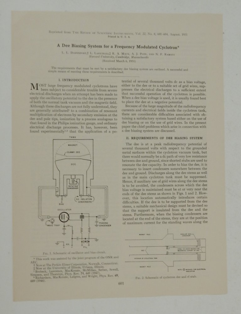 A Dee Biasing System for a Frequency Modulated Cyclotron. L. L. Davenport, L. Mack Lavetelli, N. F., A. J. Ramsey, R. A. Pote, Norman.