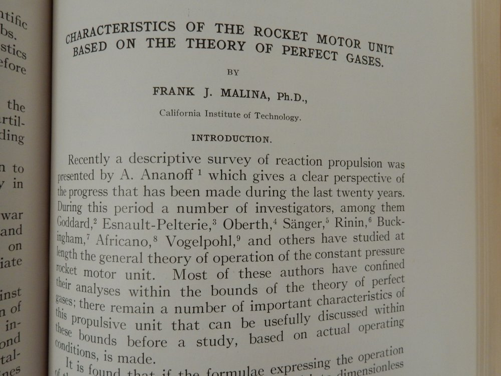Characteristics of the Rocket Motor Unit Based on the Theory of Perfect Gases. Frank Malina.