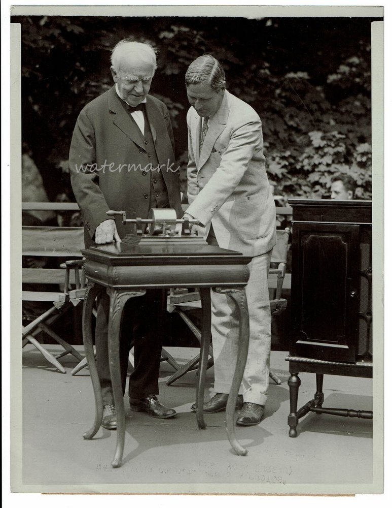 [ Photograph ] Edison Radios First Phonograph's Words! Thomas A. Edison, Governor Moore.