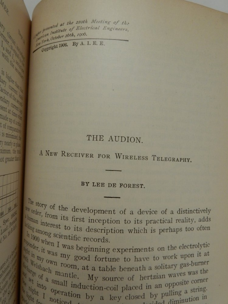 The Audion: A New Receiver for Wireless Telegraphy. Lee De Forest.