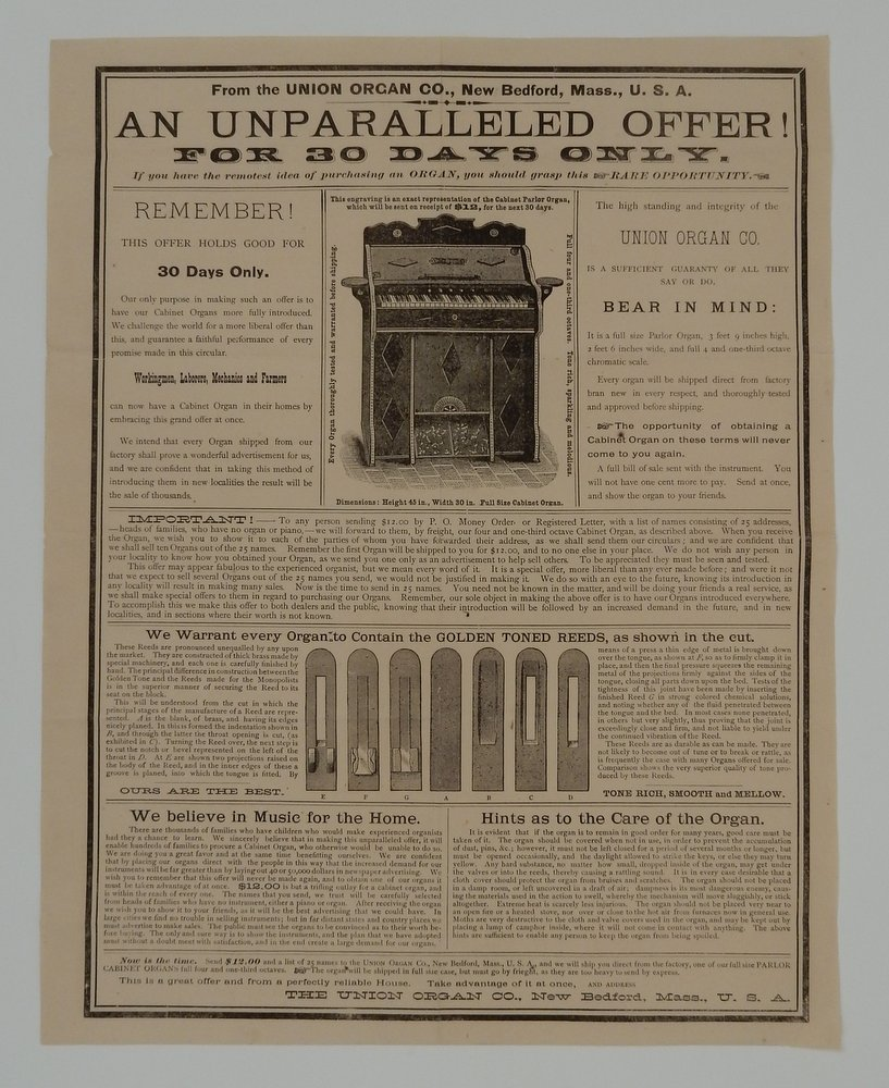 AN UNPARALLELED OFFER! | FOR 30 DAYS ONLY | If you have the remotest idea of purchasing an ORGAN, you should grasp this RARE OPPORTUNITY [caption title and text]. Union Organ Co.
