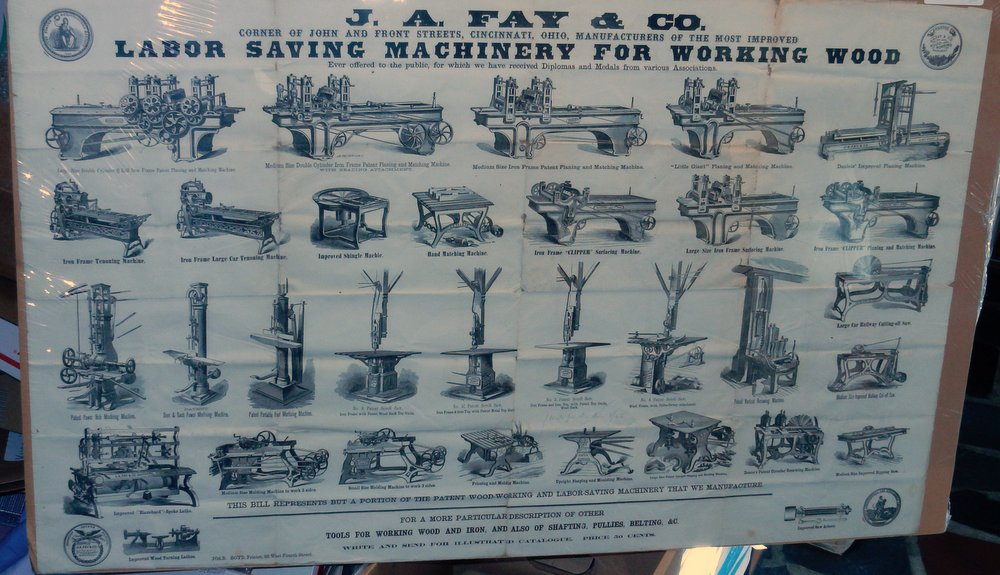 [ broadside ] Labor Saving Machinery for Working Wood. J. A. Fay, Co.