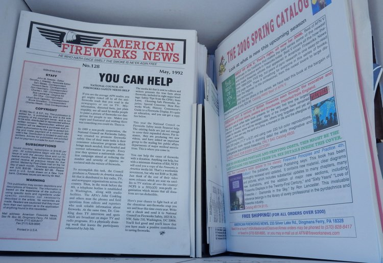 American Fireworks News, 108 issues from 1992-2006 PLUS extras. John M. Drews.