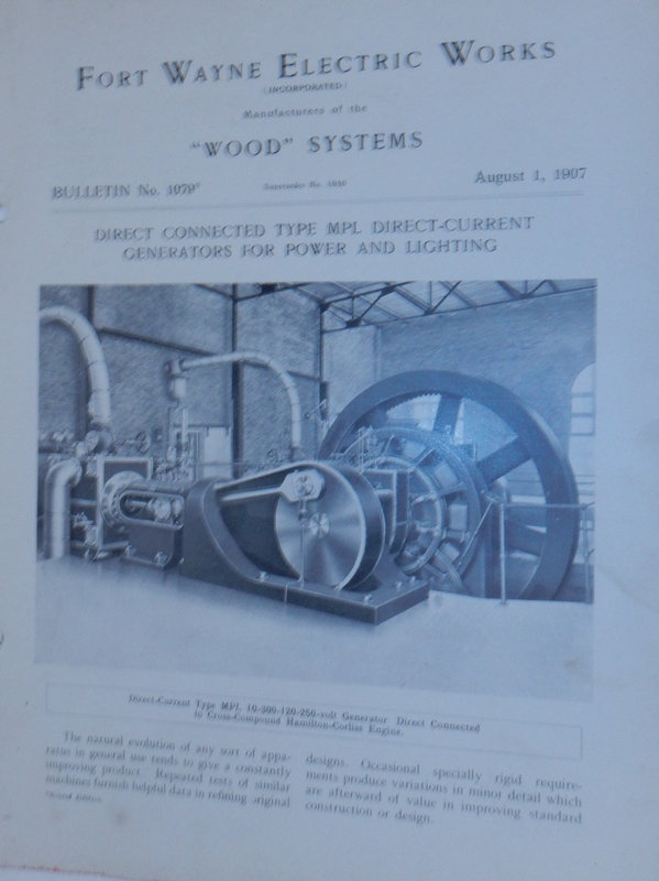 Wood Systems. Bulletin No.1079. Direct Connected Type MPL Direct-Current Generators for Power and Lighting August 1, 1907. Fort Wayne Electric Works.