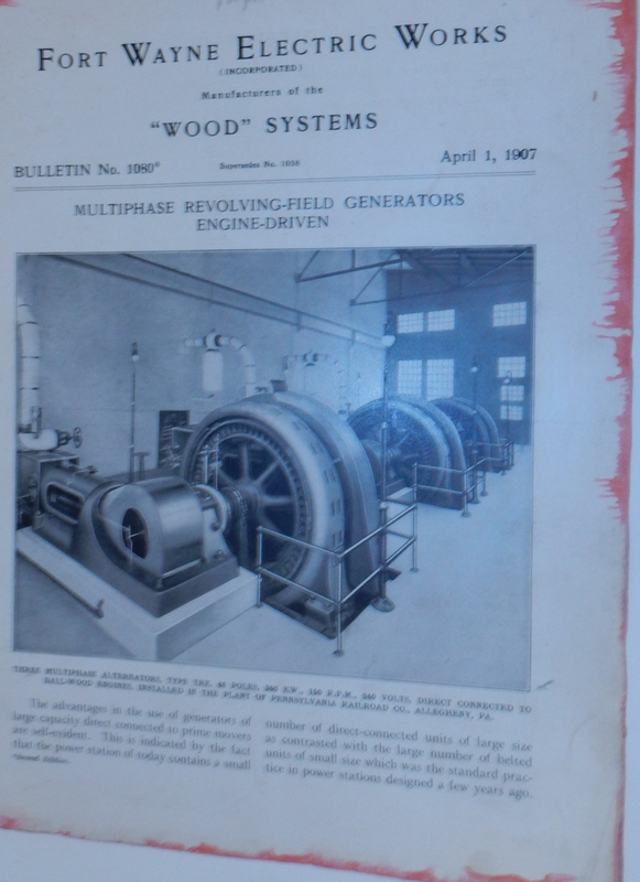 Wood Systems. Bulletin No.1080. Multiphase Revolving-Field Generators Engine-Driven April 1, 1907. Fort Wayne Electric Works.