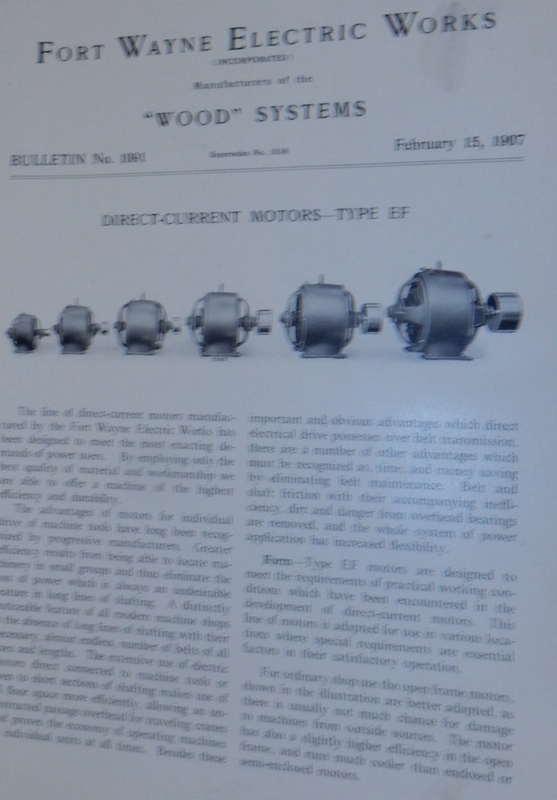 Wood Systems. Bulletin No.1091. Direct-Current Motors - Type EF February 15, 1907. Fort Wayne Electric Works.