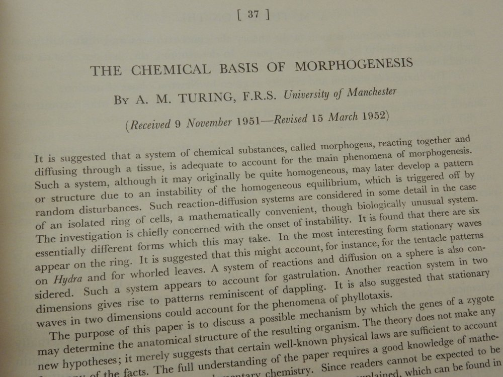 The Chemical Basis of Morphogenesis. A. M. Turing, Alan.