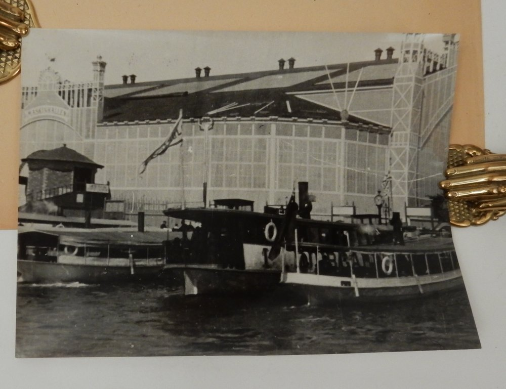 Boats in front of Machinery Hall at the 1897 Stockholm Exhibition [ descriptive title by seller ]. Auguste Lumiere, Louis Lumiere, Alexandre Promio.