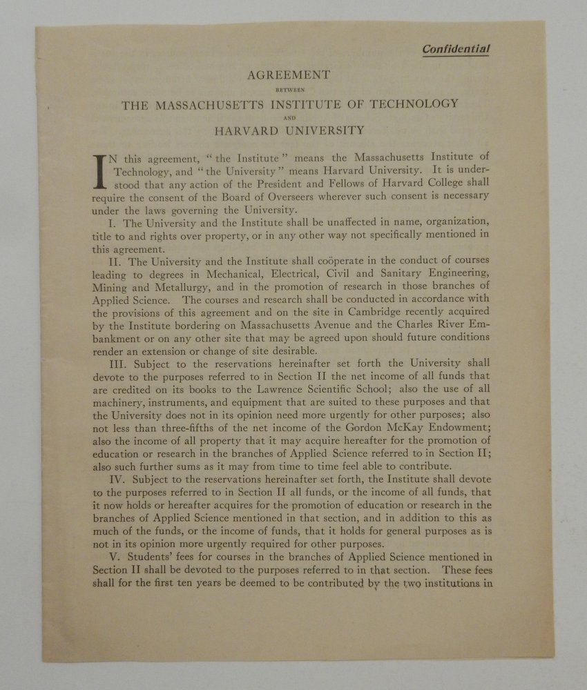 """Agreement Between The Massachusetts Institute of Technology and Harvard University"" [ caption title ]. Massachusetts Institute of Technology, Harvard University."