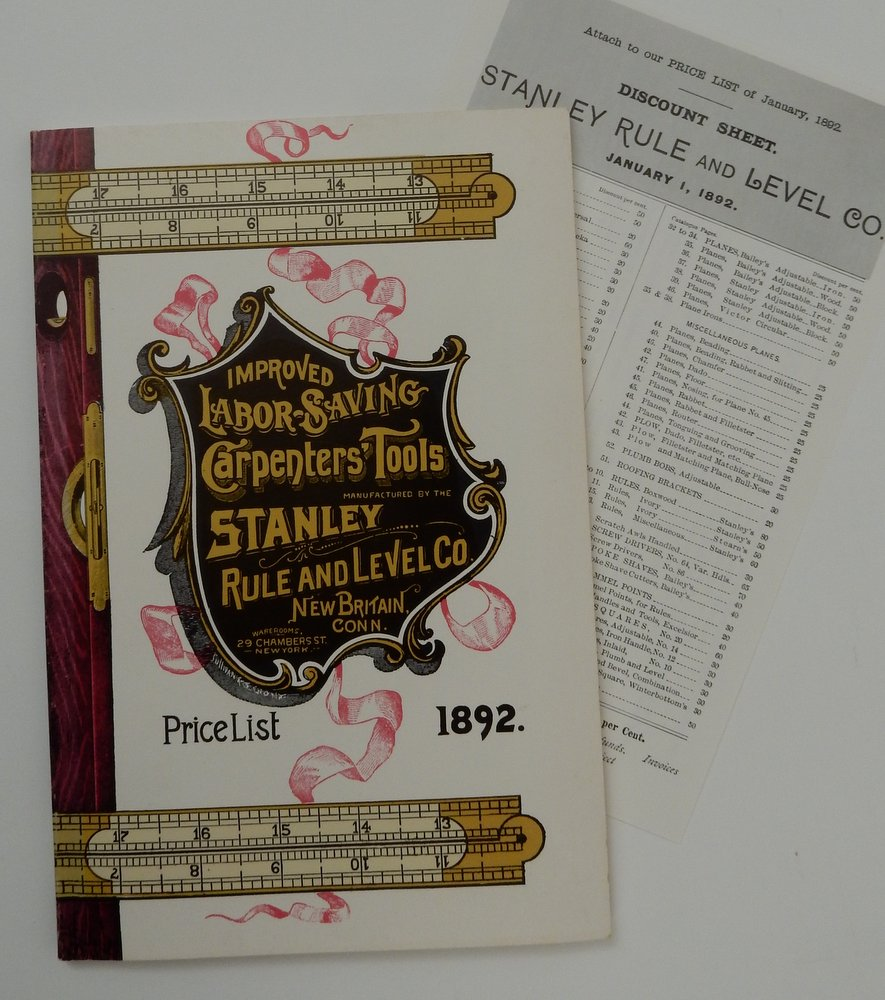 [Stanley Rule and Level Company] 1892 Price List of U.S. Standard Boxwood and Ivory Rules, Plumbs and Levels, Try Squares, Bevels, Gauges, Mallets, Iron and Wood Adjustable Planes, Spoke Shaves, Screw Drivers, AWL Hafts, Handles, &C Manufactured by the Stanley Rule and Level Company New Britain Conn. U.S.A. January 1892. Stanley Rule, Level Company.