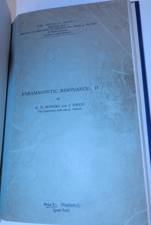 Paramagnetic Resonance : II. K. D. Bowers, J. Owen.