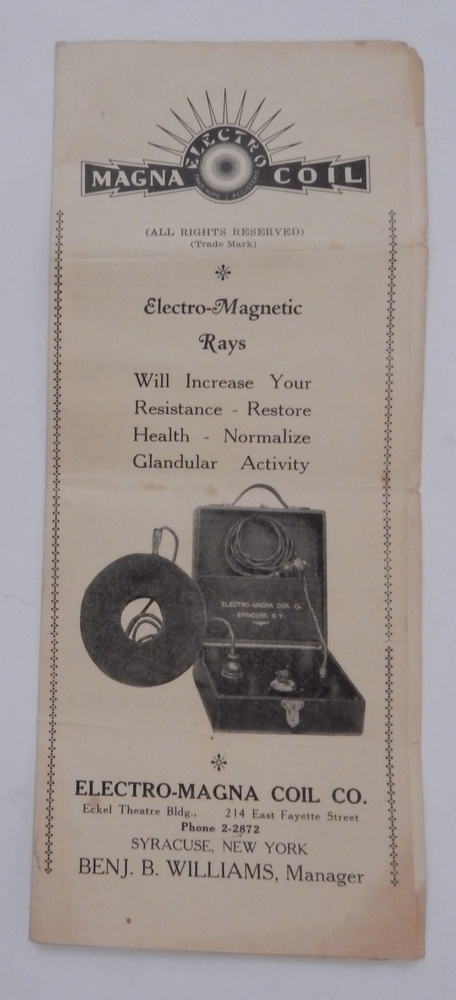 Electro-Magna Coil Co. brochure. Benjamin B. Williams, Manager.