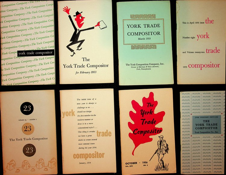 A group of 15 issues of the York Trade Compositor, in house organ and marketing serial. York Composition Company.