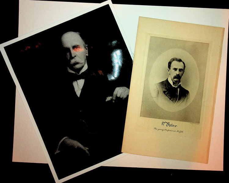 Engraved plate from book and later copy photograph of William Osler. WIlliam Osler.