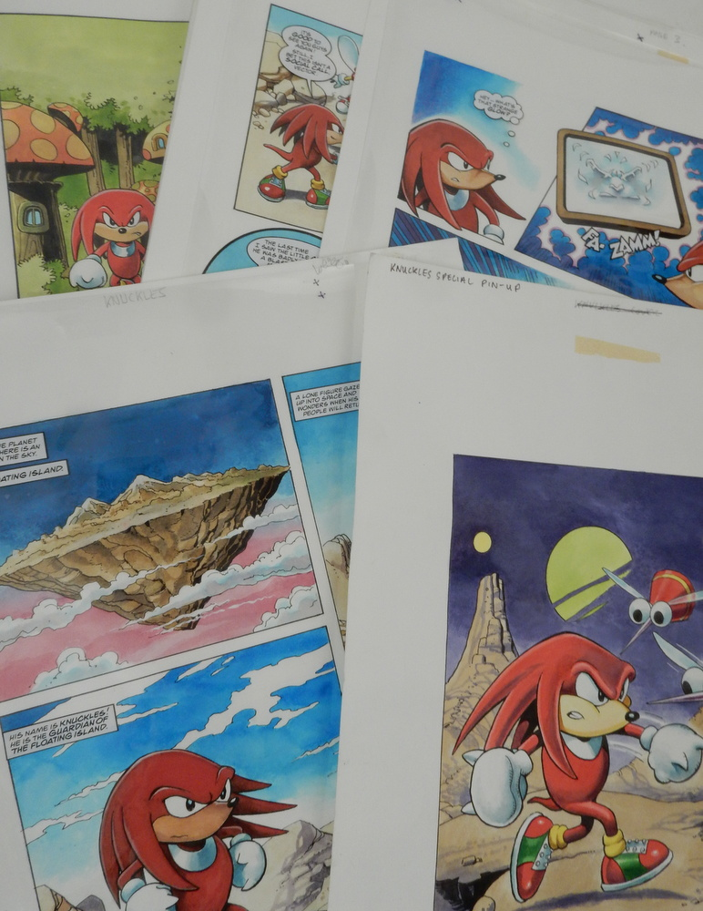 Original artwork for 1996 Knuckles (Sonic the Hedgehog) Knock-out Special. Mike White.