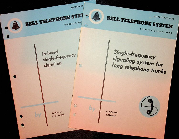"""""""In-band single-frequency signaling"""" WITH """"Single-frequency signaling system for long telephone trunks"""" [ PHONE PHREAKING ]. A. Weaver, N. A. Newell."""