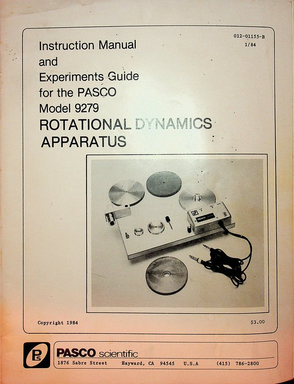 Instruction Manual and Experiments Guide for the PASCO Model 9279 Rotational Dynamics Apparatus (012-01155-B). PASCO Scientific.