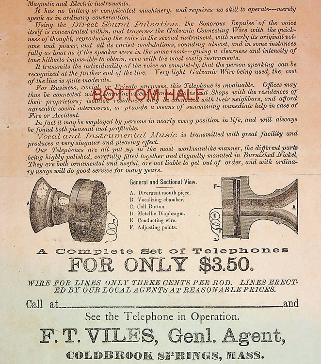 """[ Advertising """"broadside"""" ] No More Monopoly by the Bell Telephone Company ... Holcomb's Patent Acoustic Speaking Telephone. F. T. Viles, J. R. Holcomb."""