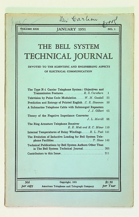 Prediction and Entropy of Printed English [ IN The Bell System Technical Journal, Volume XXX, No. 1, January 1951 ]. C. E. Shannon, Claude Elwood.