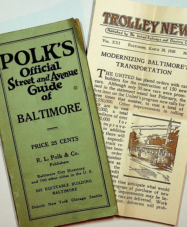 POLK's Official Street and Avenue Guide of Baltimore ... Giving Description, Location, Number and intersection of each street, and the nearest Car Line to each number on the street, etc. All Routes of City and Suburban Car Lines and of Public Buildings, Wharves and Docks and other Valuable Information. R. L. Polk, Co.