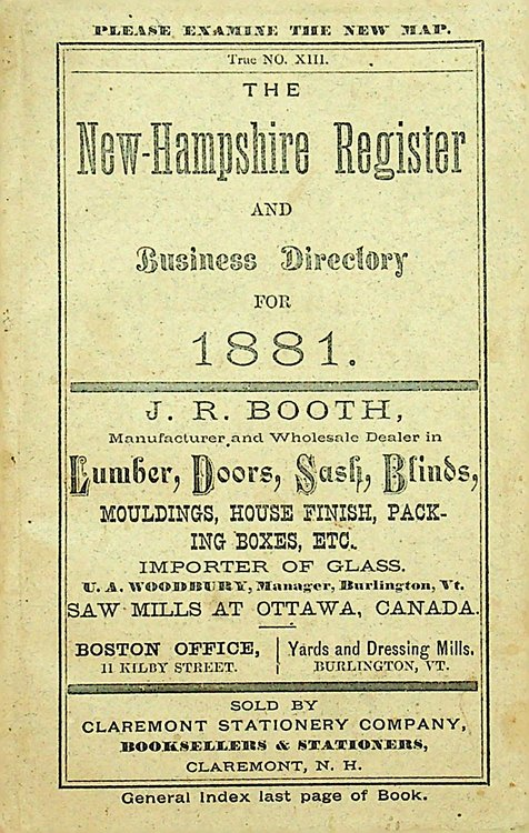 The New Hampshire Register, Farmers' Almanac, and Business Directory, for 1881. S. L. Farman.