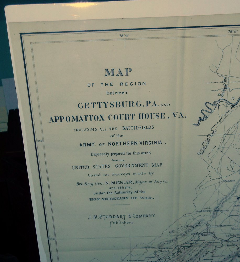 Map of the Region between Gettysburg, PA. and Appomattox Court House. VA. including all the Battle-fields of the Army of Northern Virginia. Expressly prepared for this work from the United States Government Map based on surveys made by Bvt. Brig Gen. N. Michler, Mayor of Eng'rs and others, under the Authority of the Hon Secretary of War. N. Bvt Brig. Gen Michler, Major of Eng'rs.