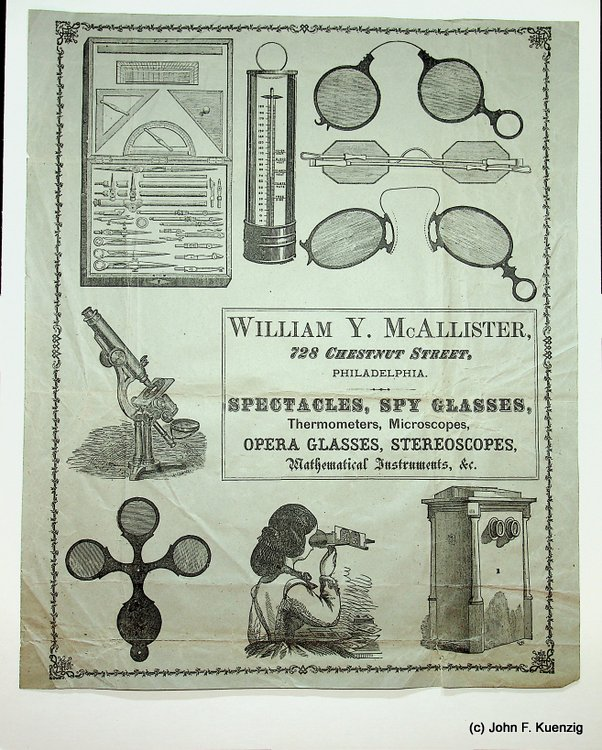 [ Advertising Broadside ] William Y. McAllister ... Spectacles, Spy Glasses, Thermometers, Microscopes, Opera Glasses, Stereoscopes, Mathematical Instruments, &c. William Y. McAllister.