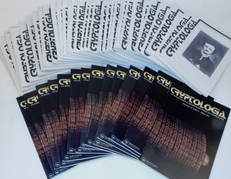 Cryptologia, A Quarterly Journal Devoted to Cryptology. 46 issues plus index issue from 1982-2011. David Kahn, Louis Kruh, Cipher A. Deavors, Brian J. Winkel, Greg Mellen, William Friedman, many others.