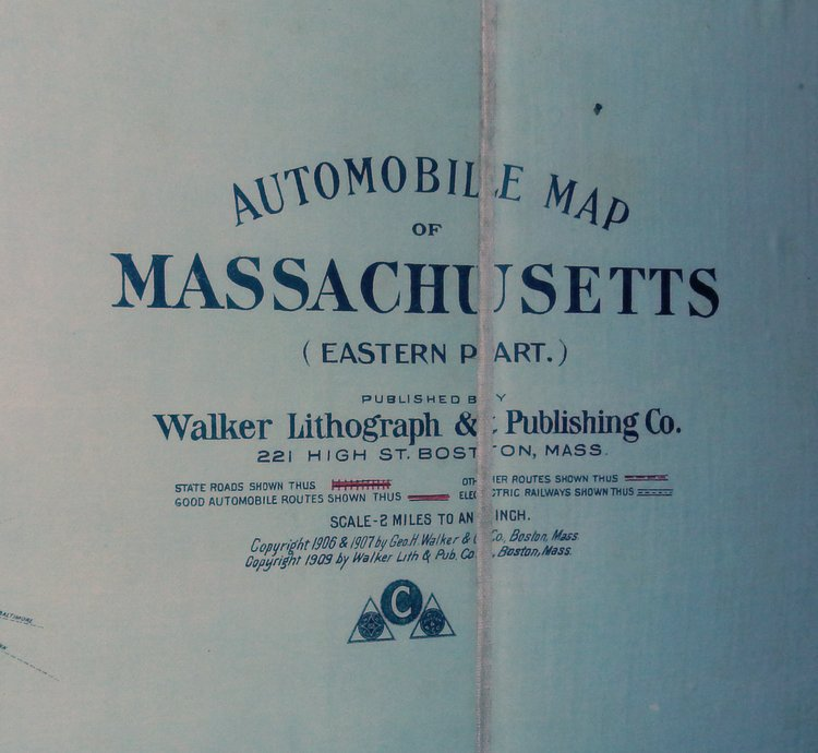 Automobile Map of MASSACHUSETTS (Eastern Part.) [ 1909 ]. Walker Lithograph, Publishing Co.