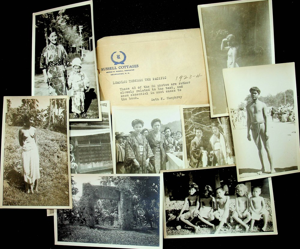 Seth K. Humphrey Archive - Book, approx 200 Photographs Loafing through the Pacific, scrapbook. Seth K. Humphrey.