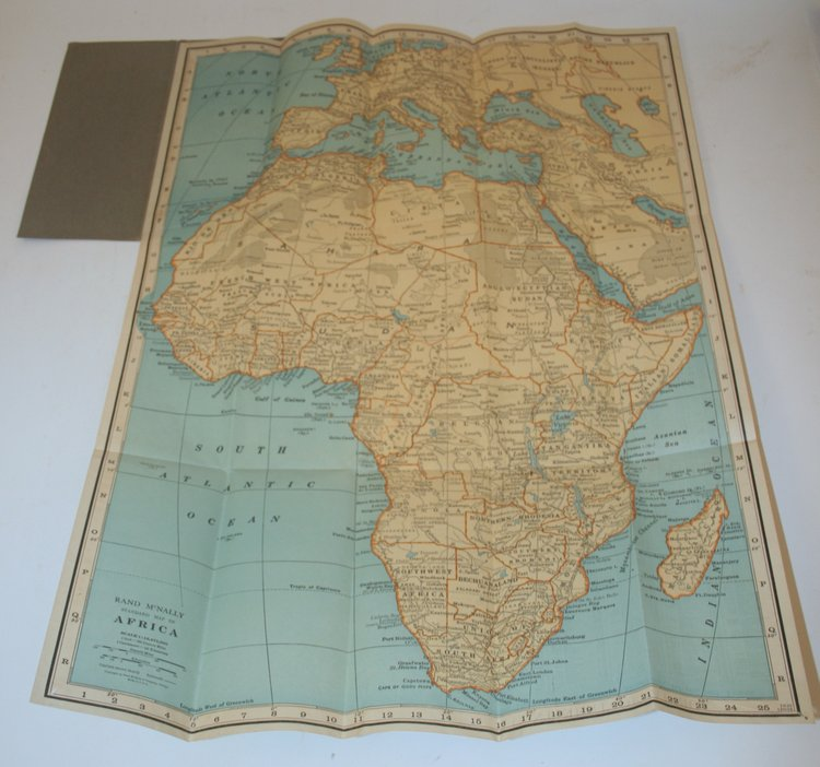 AFRICA Pocket Map showing political divisions, cities and towns, etc. Rand McNally, Company.