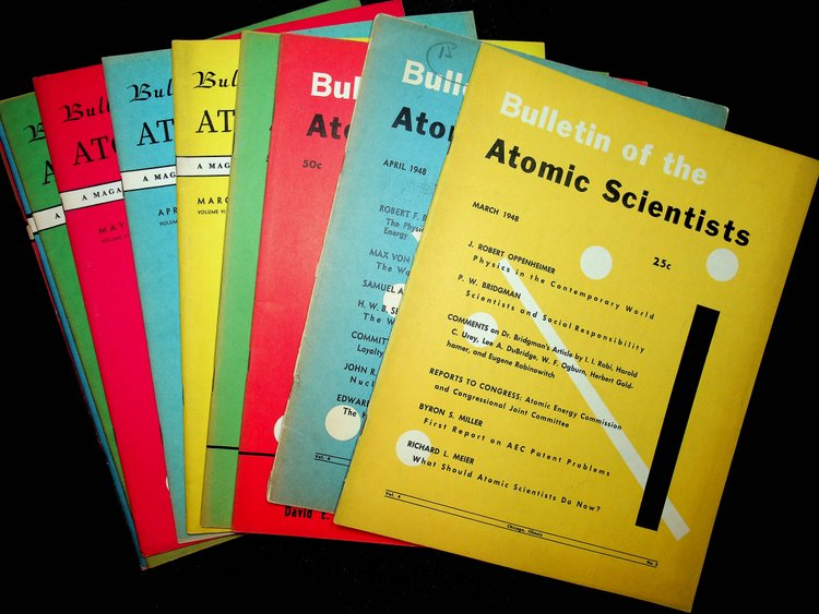 Bulletin of Atomic Scientists : a significant grouping of 60 issues from 1948-1957. Albert Einstein, Harold C. Urey, Goldsmith and Rabinwitch, Chairman, Vice Chairman.