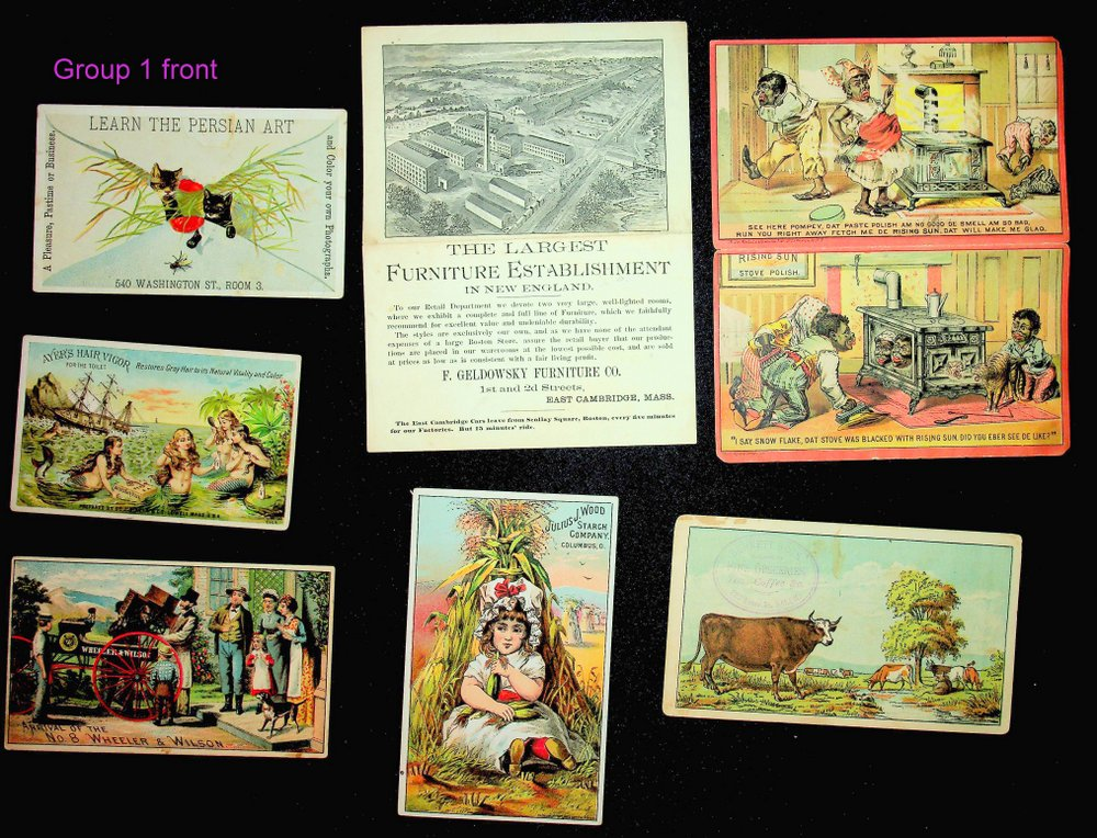 Collection of 27 trade cards and/or advertisements.